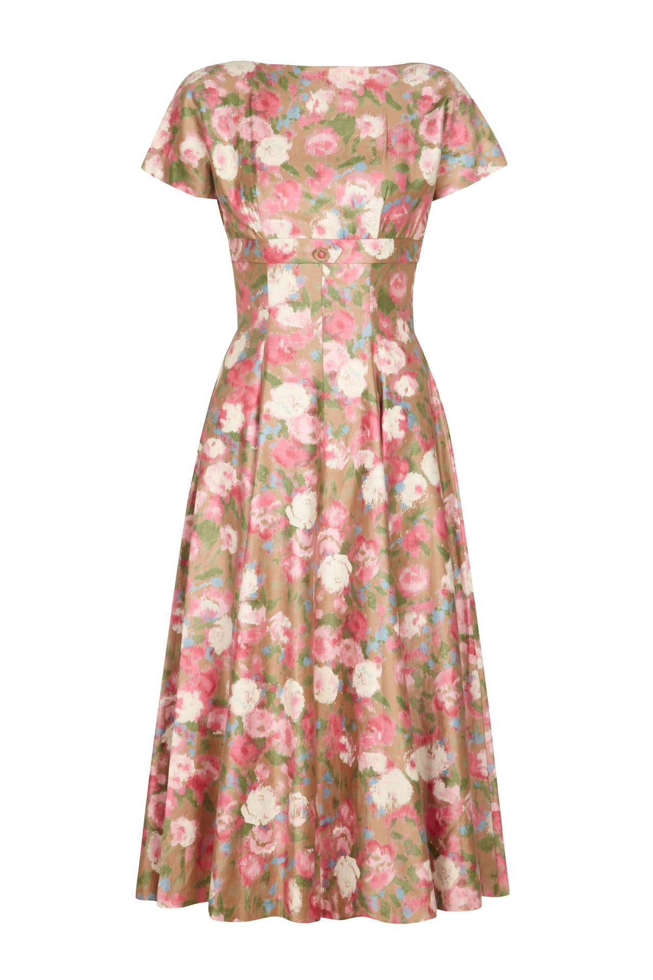 1950s Cotton Floral Dress via 1st Dibs