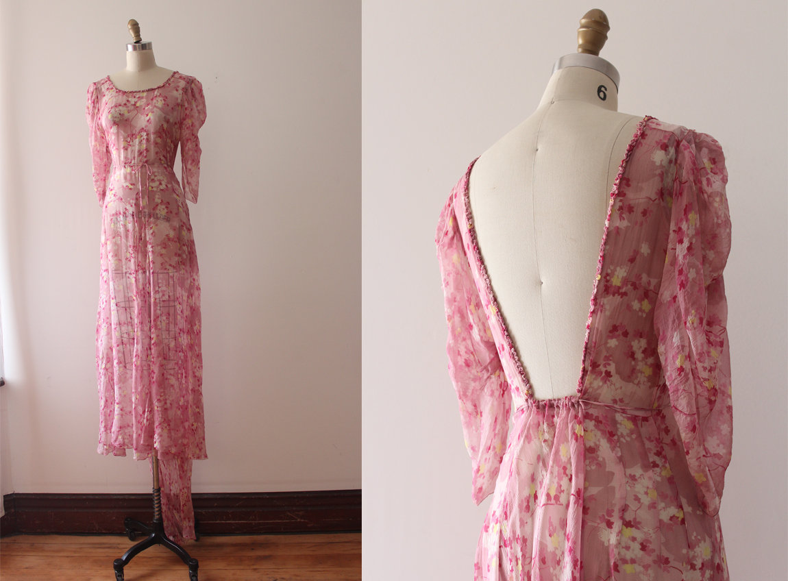 1930s Pink Silk Chiffon Floral Dress via Etsy  (BRB, freaking out this is so beautiful)