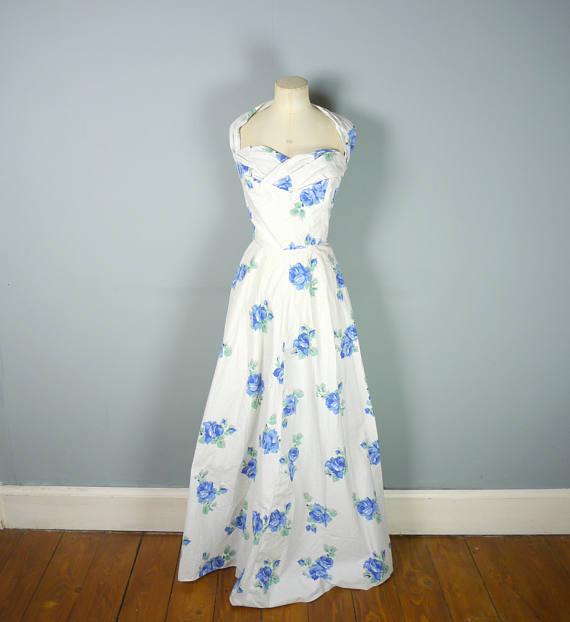 1950s Alice Edwards Cotton Floor Length Dress via Etsy