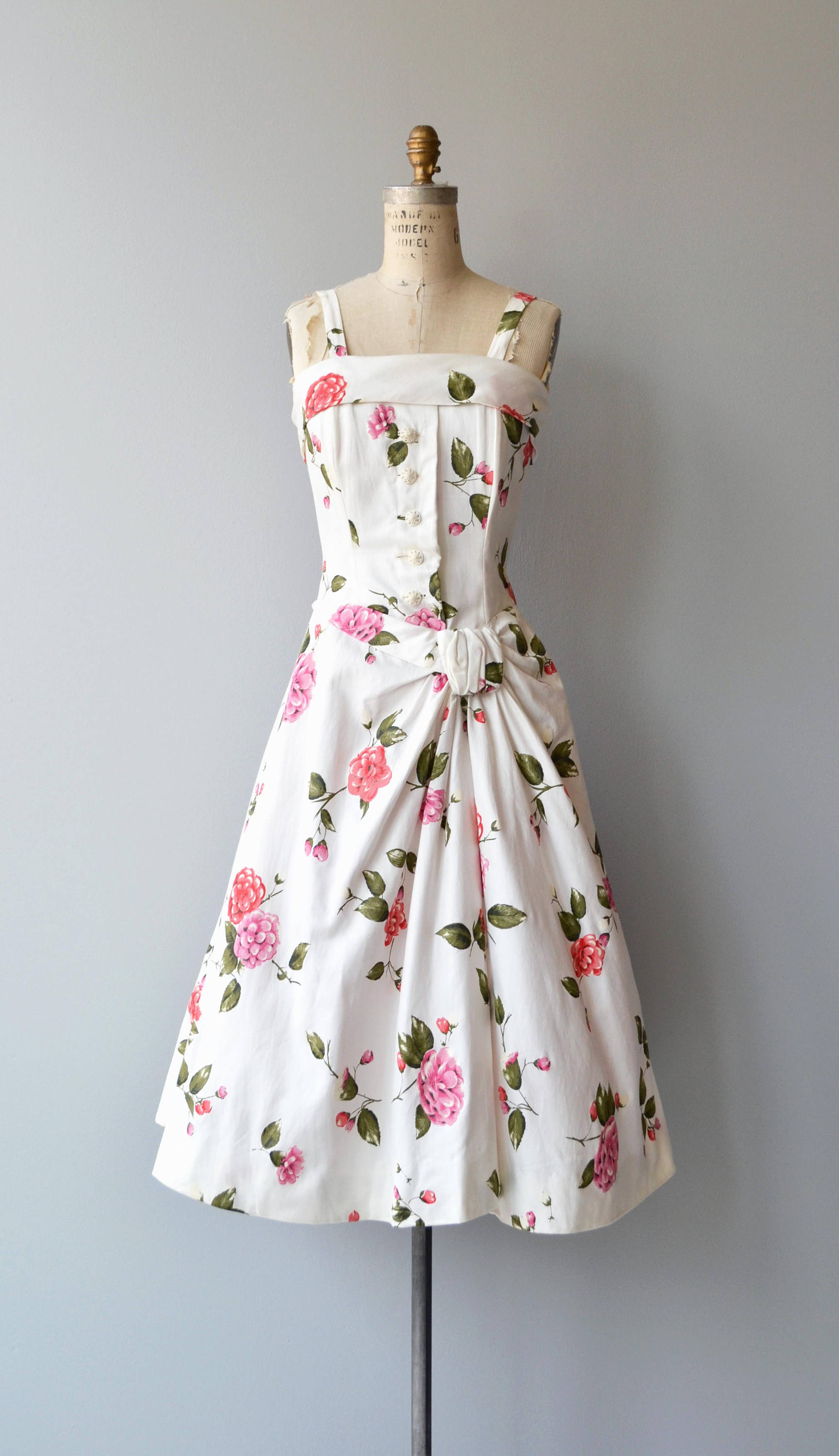 1950s Floral Cotton Dress with Hip Detail via Etsy