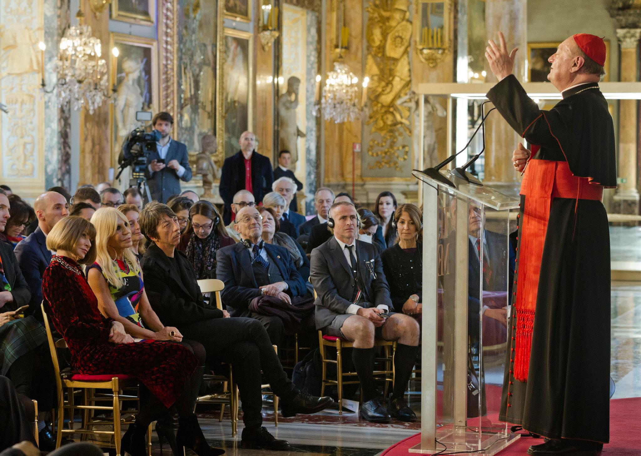 Cardinal Gianfranco Ravasi adresses the fashion faithful (Photo: Domenico Stinellis/Associated Press via The New York Times)