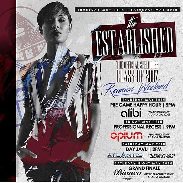 RP @DjBruckup 🚨Tonight🚨 We kick off our 10 Year Class Reunion weekend🎉 @alibiatl ✅✅Please be sure to tag and tell all of our classmates. #Established007 is our official hashtag for all reunion events and activities. Let the countdown begin. RSVP ASAP❗️❗️ #likeweneverleft007 🔥🔥🔥 (LINK IN BIO)🔥🔥 #SpelHouse #Heavvvyyy  #T12Entertainment