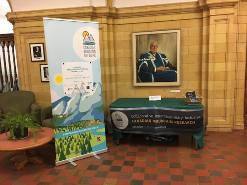 The CMN booth outside of the Senate Chamber for the talk and tour