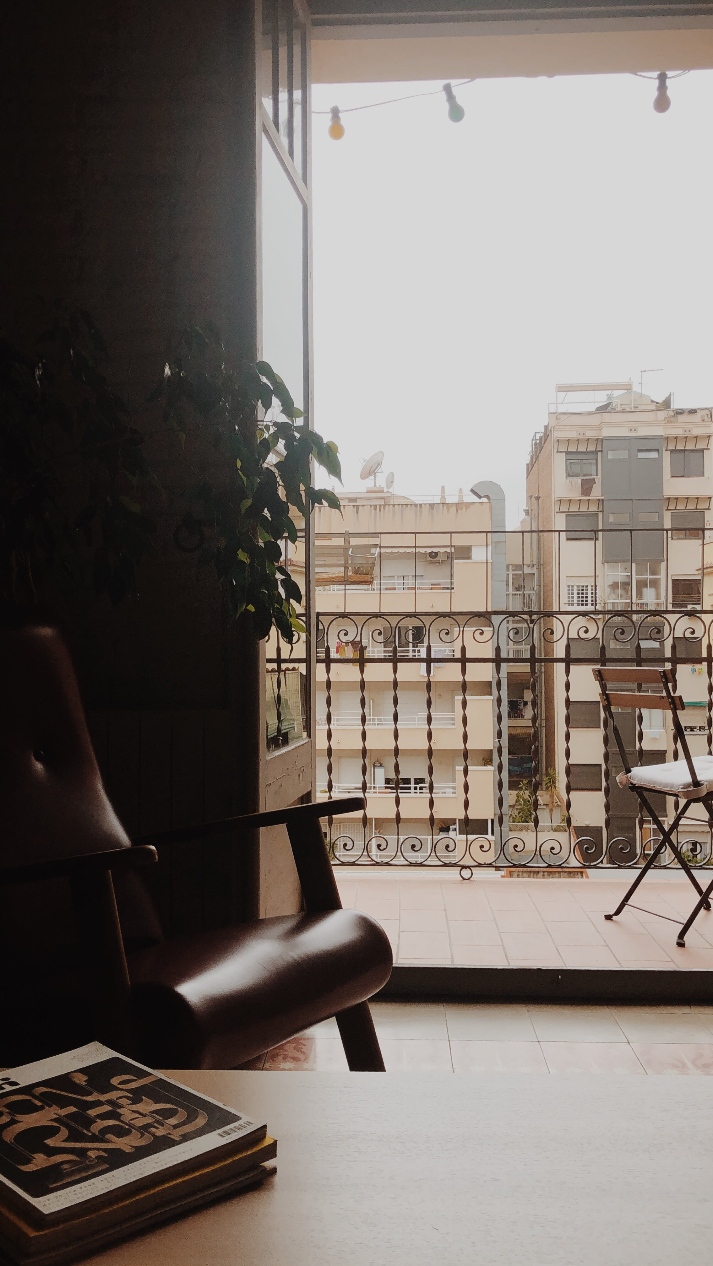 Barcelona Airbnb, looking out onto the balcony