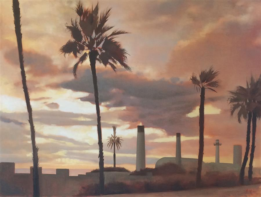 The Cell Phone Tower  (30″ x 40″)  by Jesse Aldana, oil painting