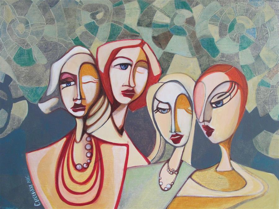 "Alike (18"" x 24"") by Diana Elena Chelaru, acrylic painting"