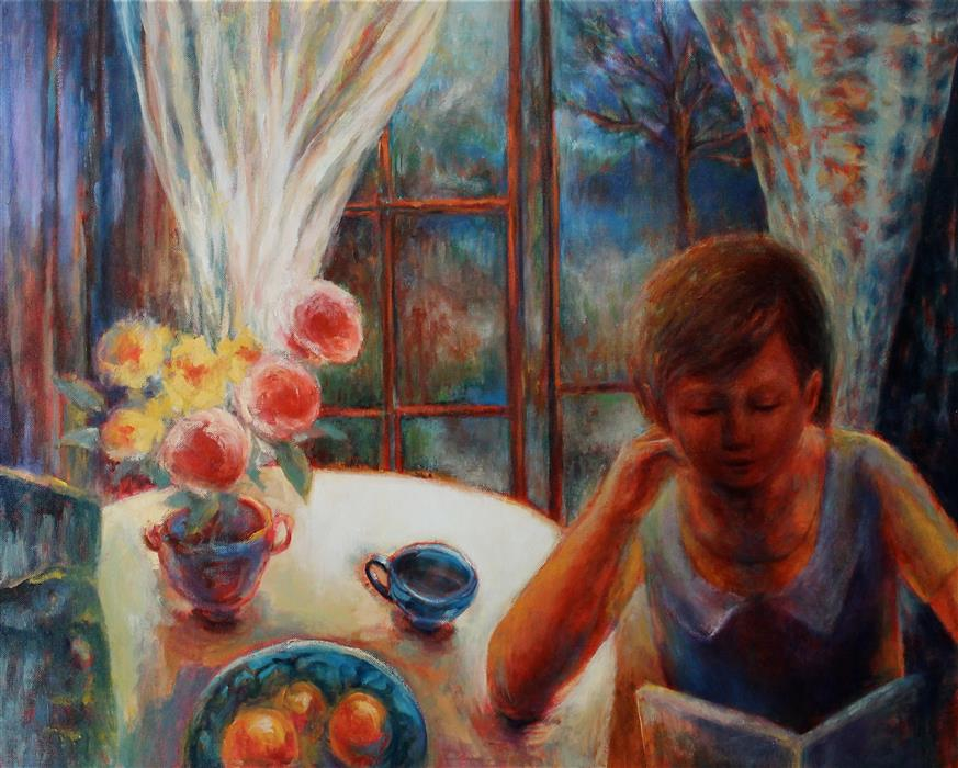 """Girl with A Book (24""""x 30"""") by Naoko Paluszak, oil painting"""