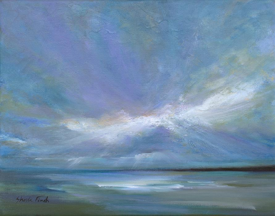 """Coastal Clouds XII (11"""" x 14"""") by Sheila Finch, oil painting"""