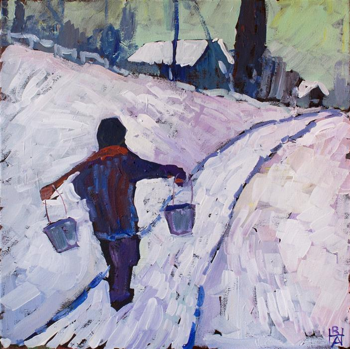 "The Water Carrier (20"" x 20"") by Robert Hofherr, acrylic painting"