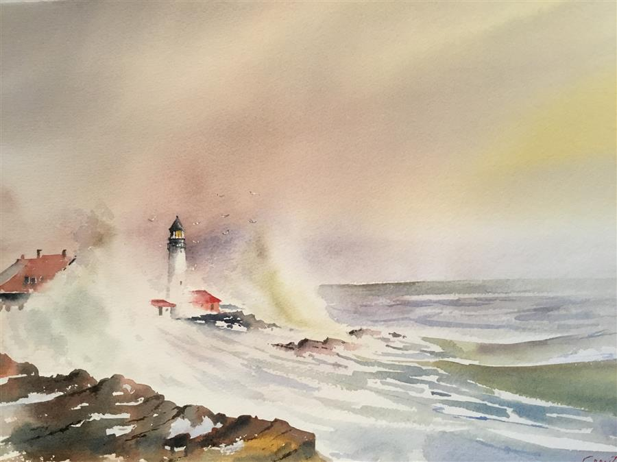 "New Hampshire Lighthouse (15"" x 22"") by Grant Wood, watercolor"