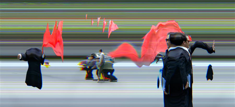 China in Motion, Red Flag by Ansen Seale