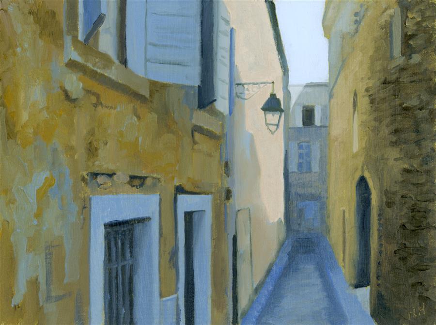 """Rue Fredric, Arles  (6"""" x 8"""") by Nancy Herman, oil painting"""
