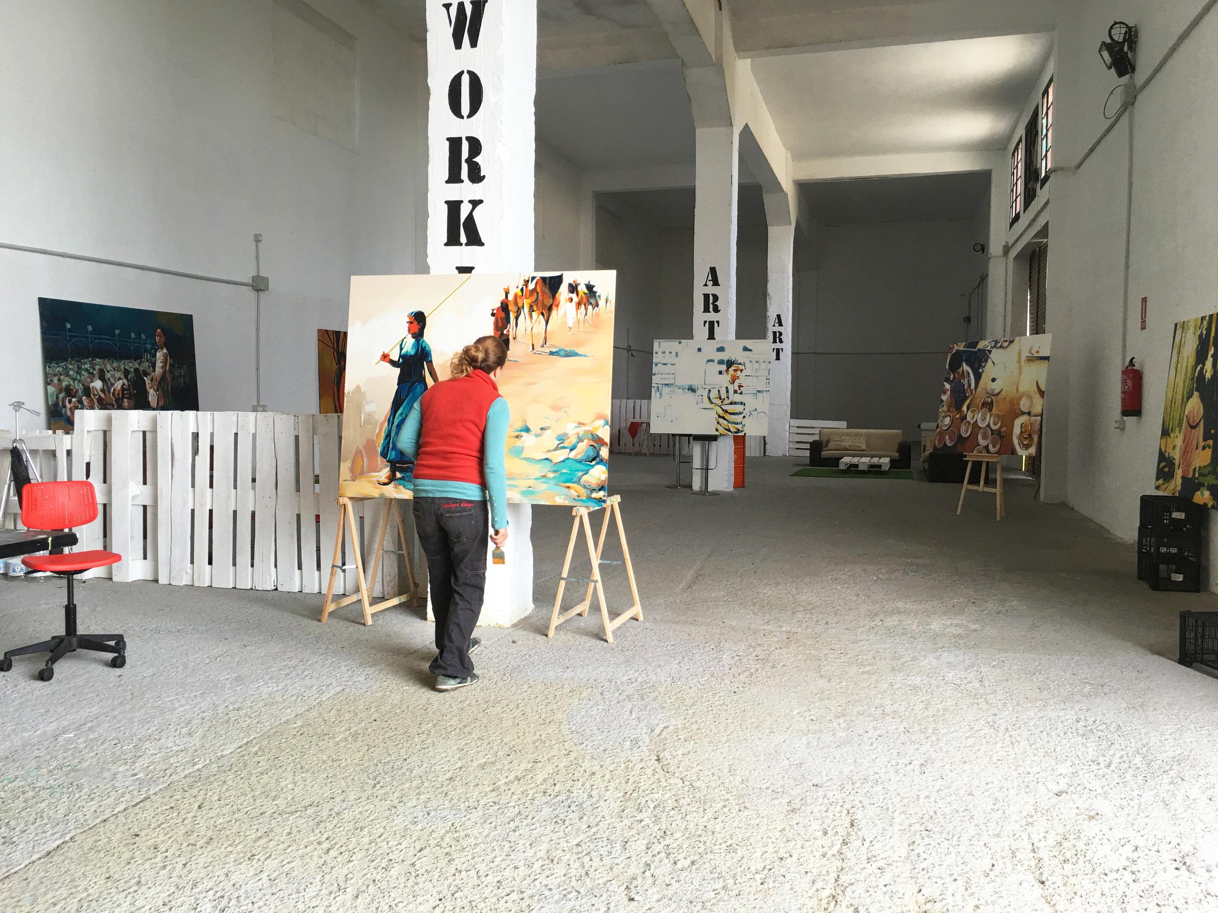 Spanish artist Elena Marquez Bonny working in her studio