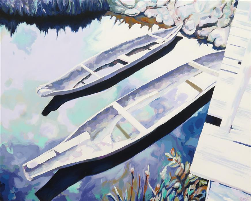 "Canoas (51.18"" x 63.77"") by Elena Marquez Bonny, mixed media"