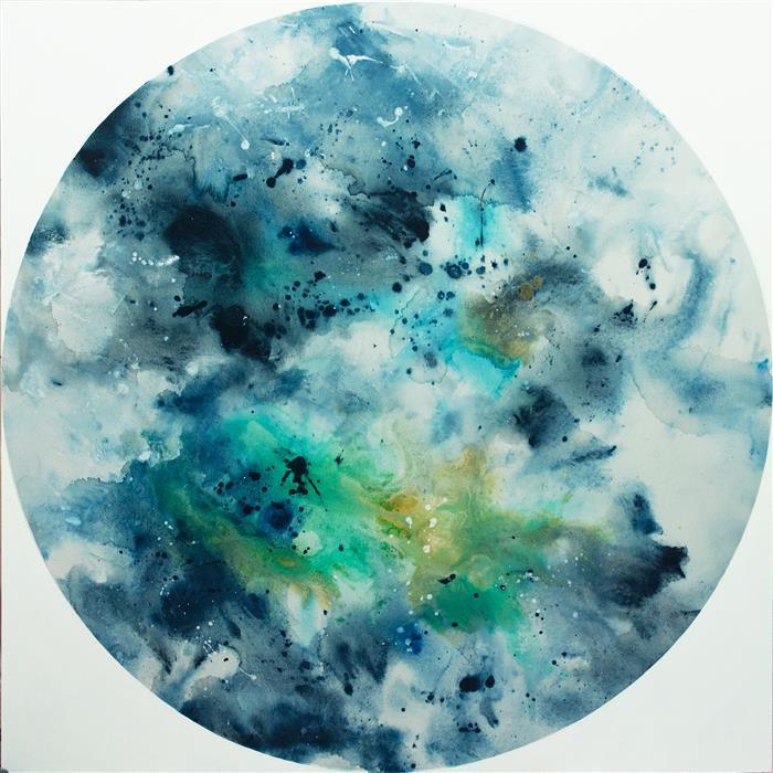 """Birth of the Sea (48"""" x 48"""")by Elena Petrova, acrylic painting"""