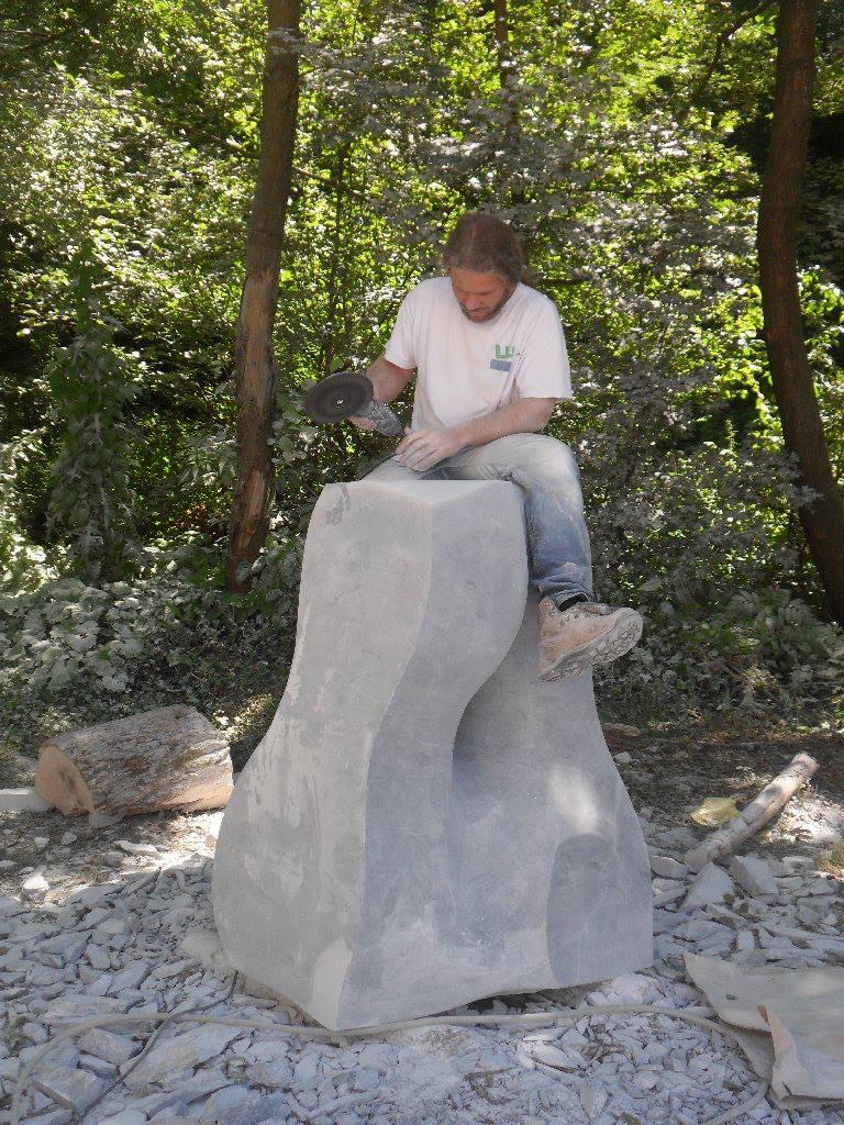 Ivan Markovic working on a sculpture