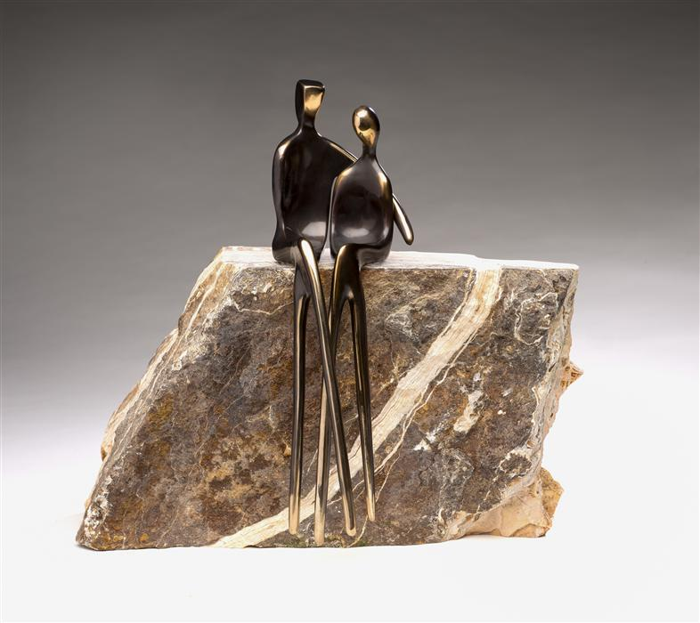 """Forever Us  (14"""" x 5"""") by Yenny Cocq, metal sculpture"""