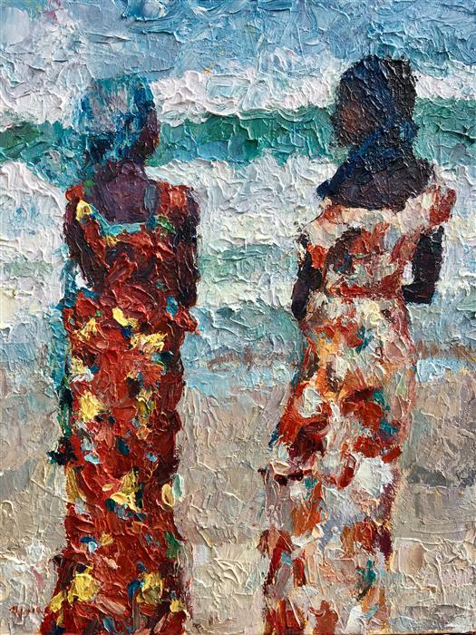 """Women by the Sea  (20"""" x 16"""") by Nava Lundy acrylic painting from the series  The Art of Her Form"""