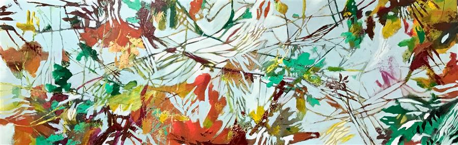 "Fall into Spring (20"" x 60"") by DL Watson, acrylic painting from the series  Botanicals"