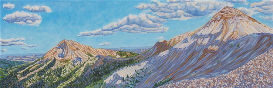 "Mountains and Skyshadows  (20"" x 60"") by Crystal DiPietro, oil painting from the series  The Meaning of Light"