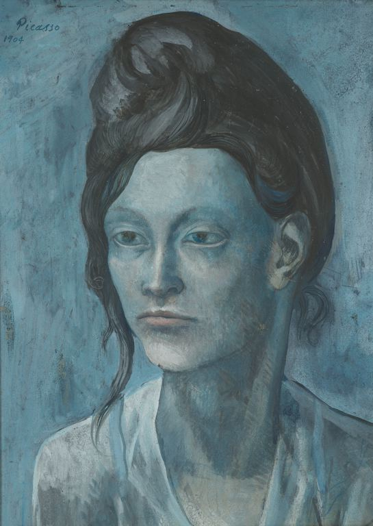 Woman with a Helmet of Hair  (42.7 x 31.3 cm)   by   Pablo Picasso, gouache on tan wood pulp board, 1904