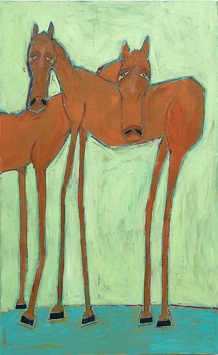 "Caution Horses  (48""x30""), acrylic painting on wood."
