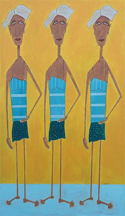 "Sisters at the Beach  (48"" x 28"")  by Rick Hamilton, acrylic painting"