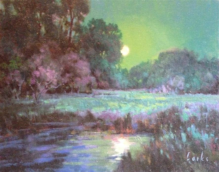 "Midnight Moon  (16"" x 20"") by David Forks, oil painting"