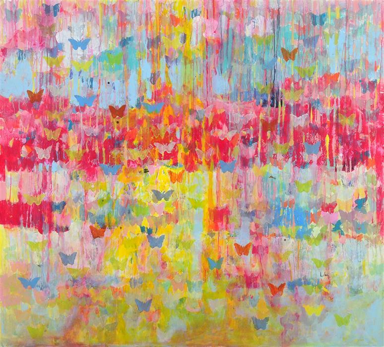 """Mika  (43.25""""x 47.25"""") by Lilac Abramsky-Arazi, acrylic painting"""