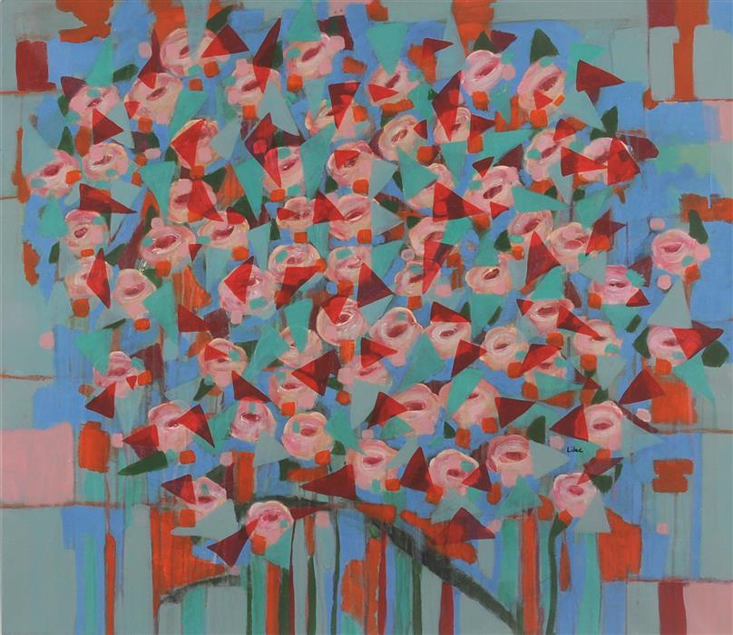 "For Alice  (36.5"" x 42"") by Lilac Abramsky-Arazi, acrylic painting"