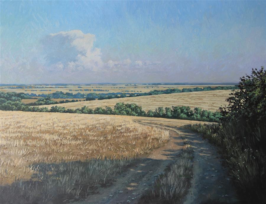 """August Fields (27.5"""" x 35.4"""") by Stefan Conka, oil painting"""