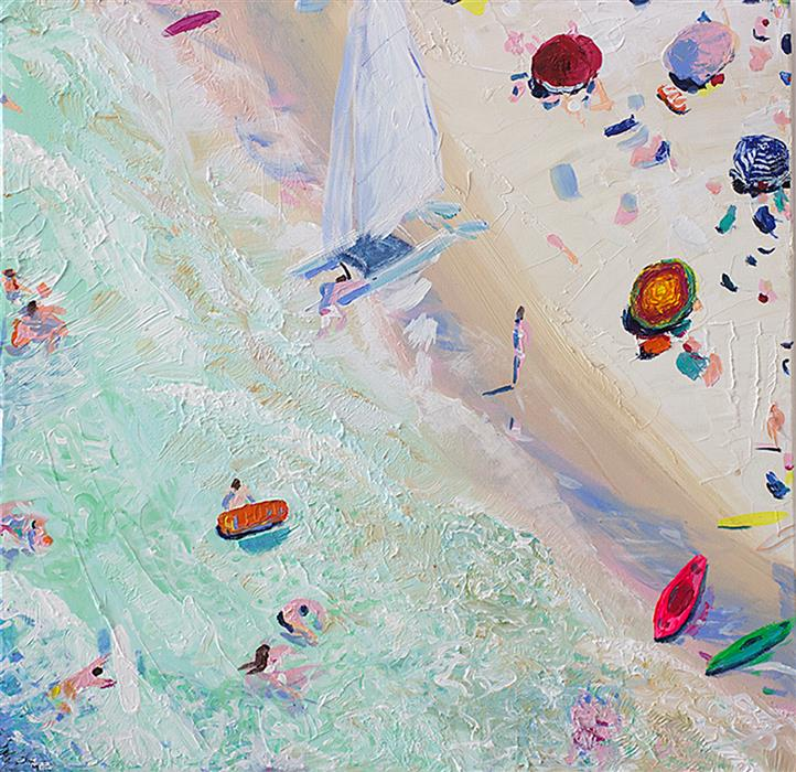 "Surf Study  (24"" x 24"") by Joe Davis, acrylic painting"