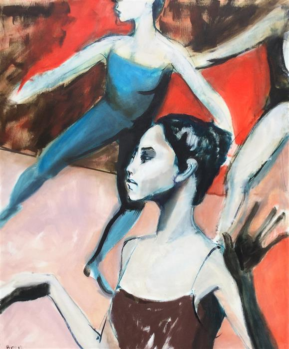 "Dancers in Flight (36"" x 30"") by Liz Brozell, oil painting"