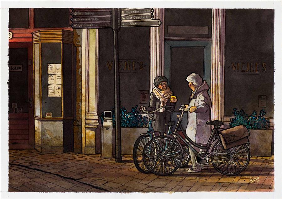 "Old Ladies Chatting, Gouda (11"" x 16"") by Hano Dercksen, mixed media artwork"