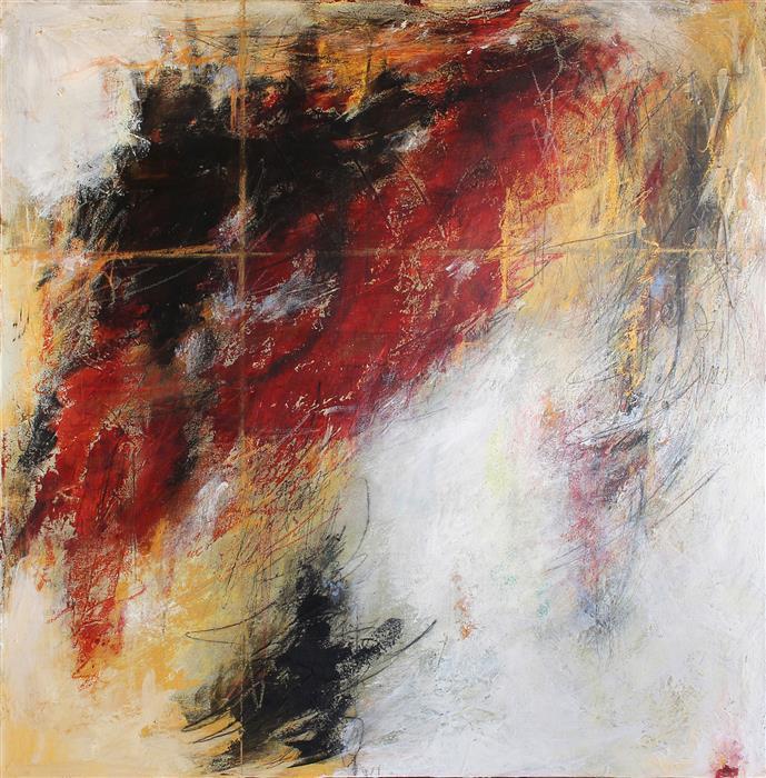 "Red/Ochre Salsa (36"" x 36"") by Charles Kacin, mixed media artwork"
