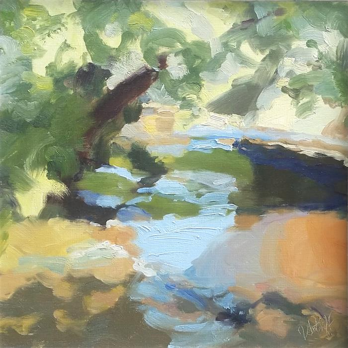 "Stream Colors (11"" x 11"") by Julia Sutliff, oil painting"