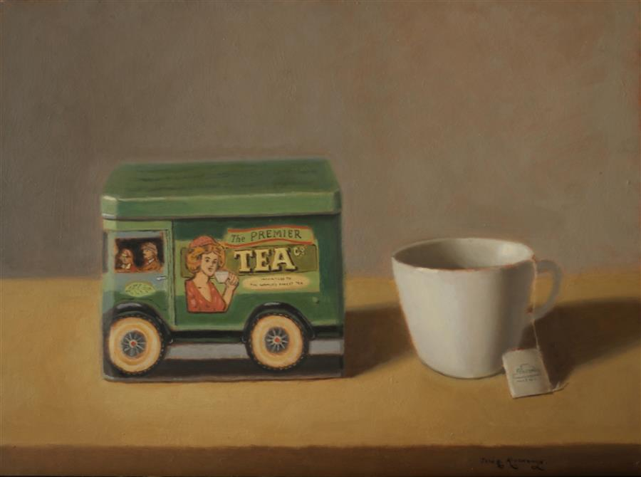 "Tea Time (12"" x 16"") by Jose H. Alvarenga, oil painting"