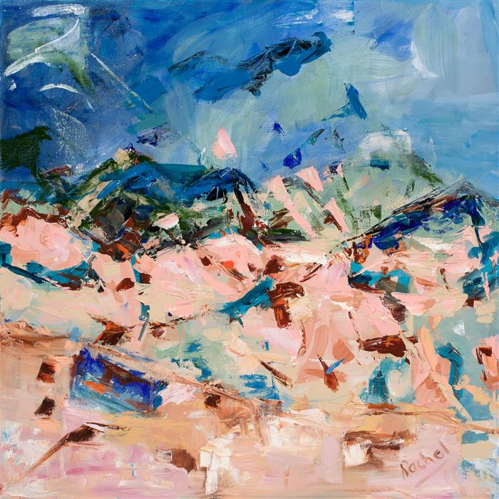 "The Beach (24"" x 24"") by Rachel Birns, acrylic painting"