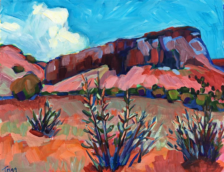 """Three Cacti (11"""" x 14"""") by Peggy Trigg, acrylic painting"""