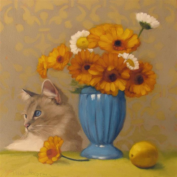 "Ragdoll with Daisies (12"" x 12"") by Diane Hoeptner, oil painting"