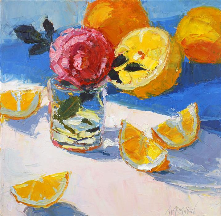 "Tea Rose and Meyer Lemons  (12"" x 12"") by Ann McMIllan, oil painting"