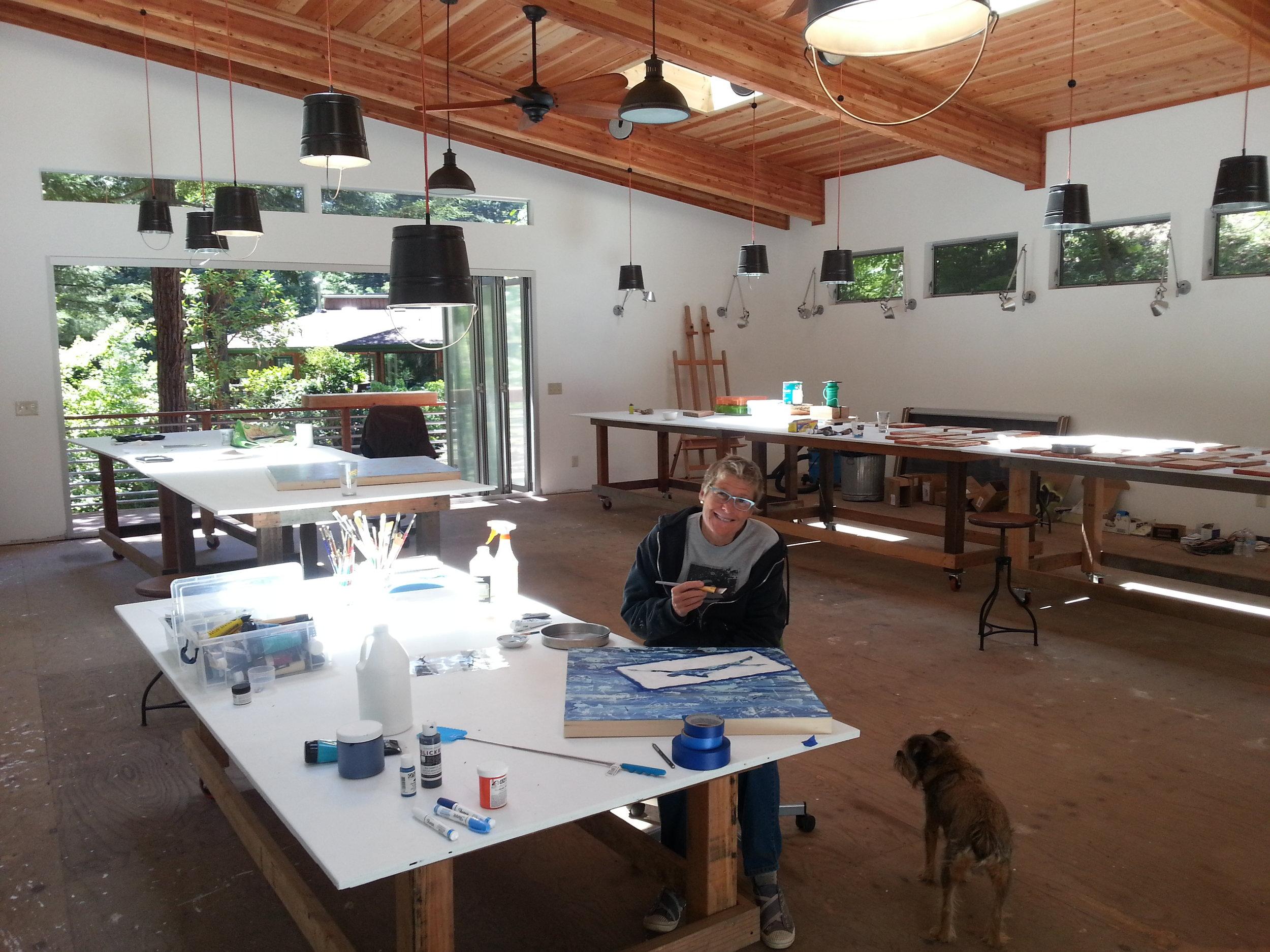 Leslie Morgan in her studio