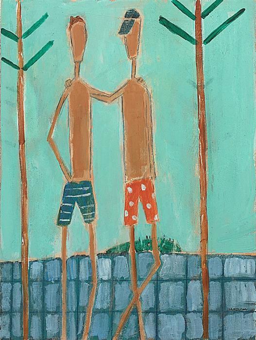 "Camp Buddies  (12"" x 9"") by Rick Hamilton, acrylic painting"