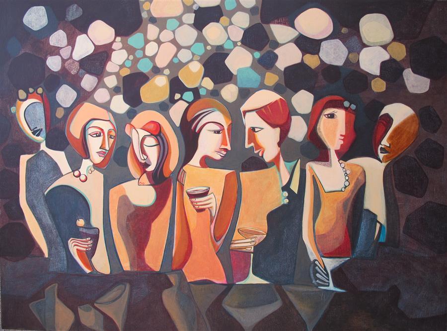 """Dim Light  (36"""" x 48"""")by Diana Elena Chelaru, acrylic painting"""