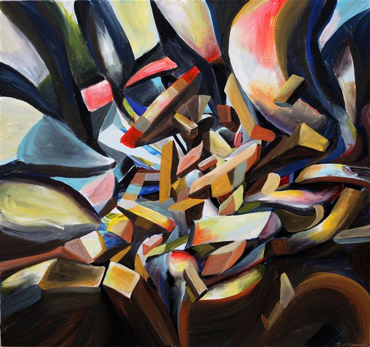 "Mirando (36"" x 36"") by Piero Manrique, acrylic painting"
