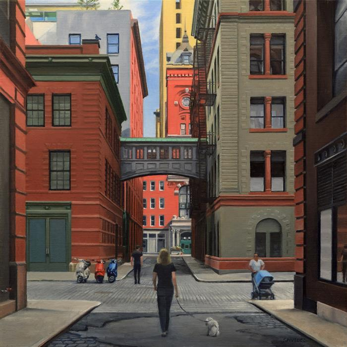 """Staple Street - Looking North (24""""x 24"""") by Nick Savides, oil painting"""