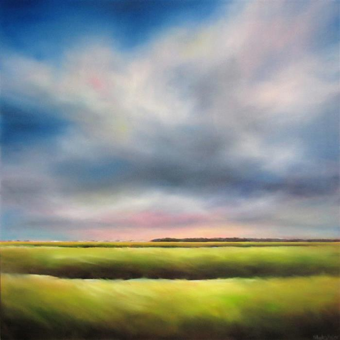 "Marsh, Partly Cloudy  (36"" x 36"")   by Nancy Hughes Miller, oil painting"