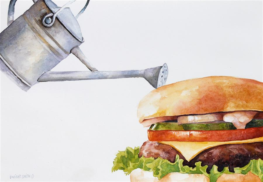 "Garden Burger  (7"" x 10"") by Dwight Smith, watercolor"