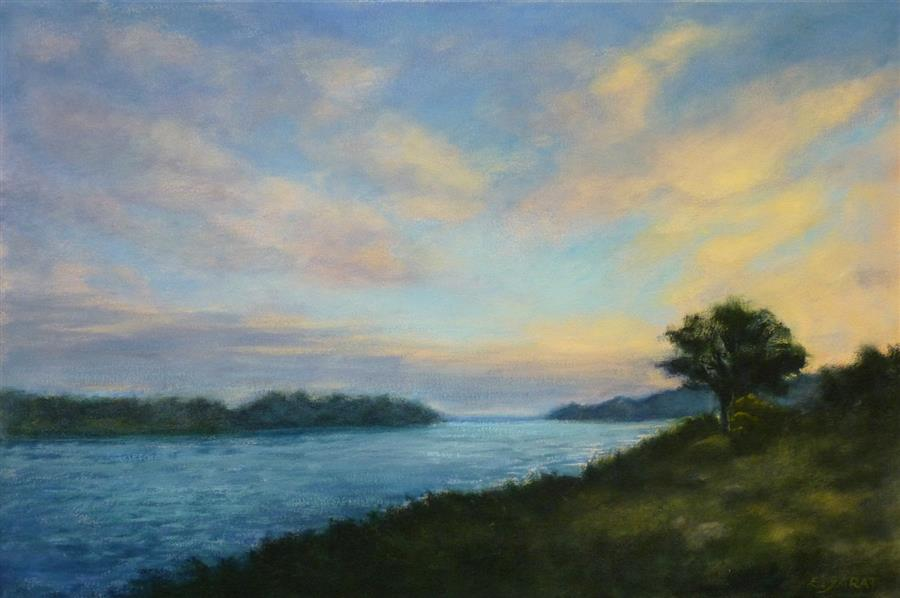 "A Sunrise at the River  (20"" x 30"") by Elizabeth Garat, oil painting"