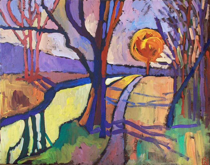 "Yellow Creek  (22"" x 28"") by Robert Hofherr, acrylic painting"